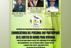 Convocatoria 3er. Sorteo de Bonos para Viviendas para Militares